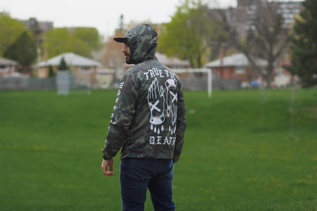 True Til Death Straight Edge windbreaker in camo