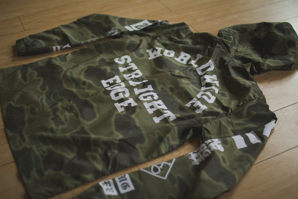 Straight edge windbreaker in green camo