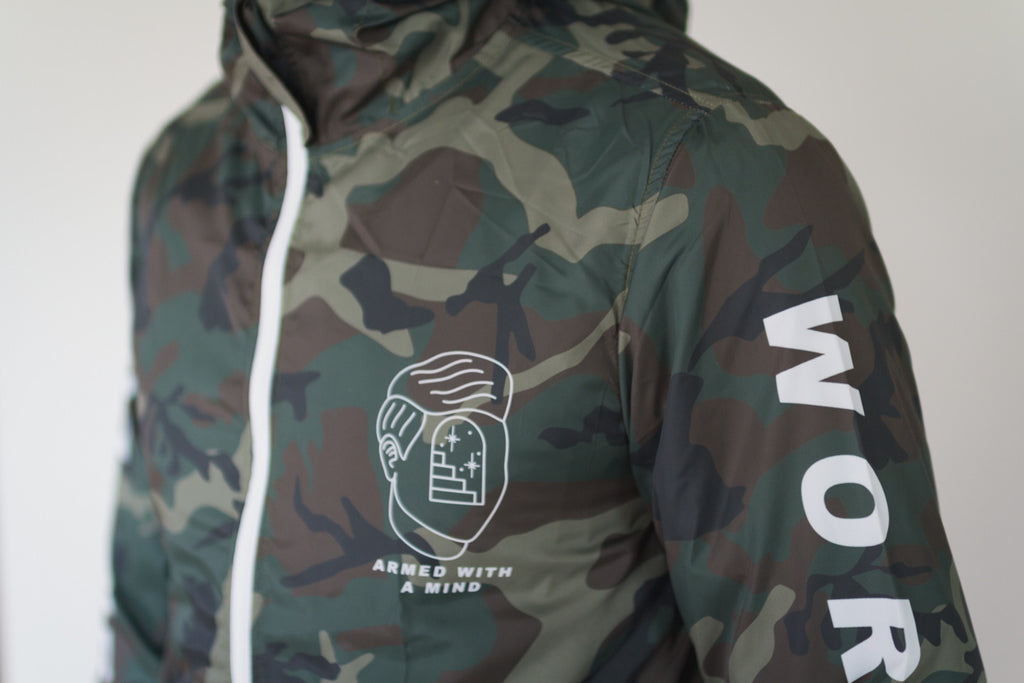 Drug Free straight edge windbreaker in camo