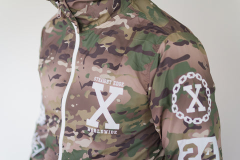 Straight edge windbreaker in brown camo
