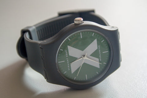 Gray and green Straight Edge X-Vibe X-Rated watch by STRAIGHTEDGEWORLDWIDE