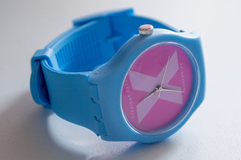 Blue and pink Straight Edge X-rated X-vibe watch by STRAIGHTEDGEWORLDWIDE