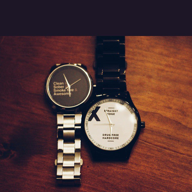 Clean sober smoke free and awesome Straight Edge watch in black and silver by STRAIGHTEDGEWORLDWIDE
