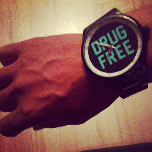 black stainless steel drug free Straight Edge watch by STRAIGHTEDGEWORLDWIDE