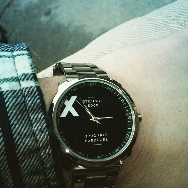 Stainless steel straight edge watch