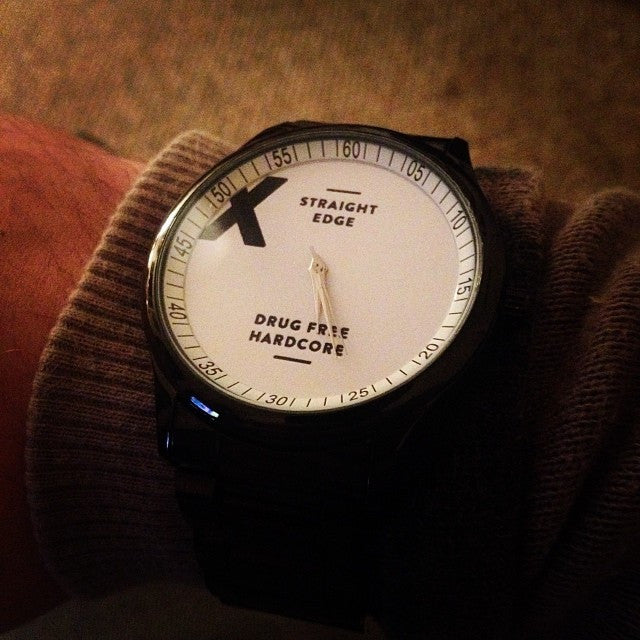 black stainless steel straight edge watch