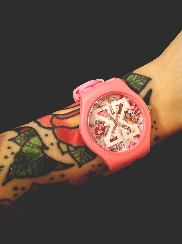 Pink straight edge watch
