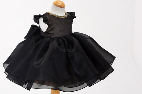 Elegant Black Baby Girl Dress Party Dress PD-AO008