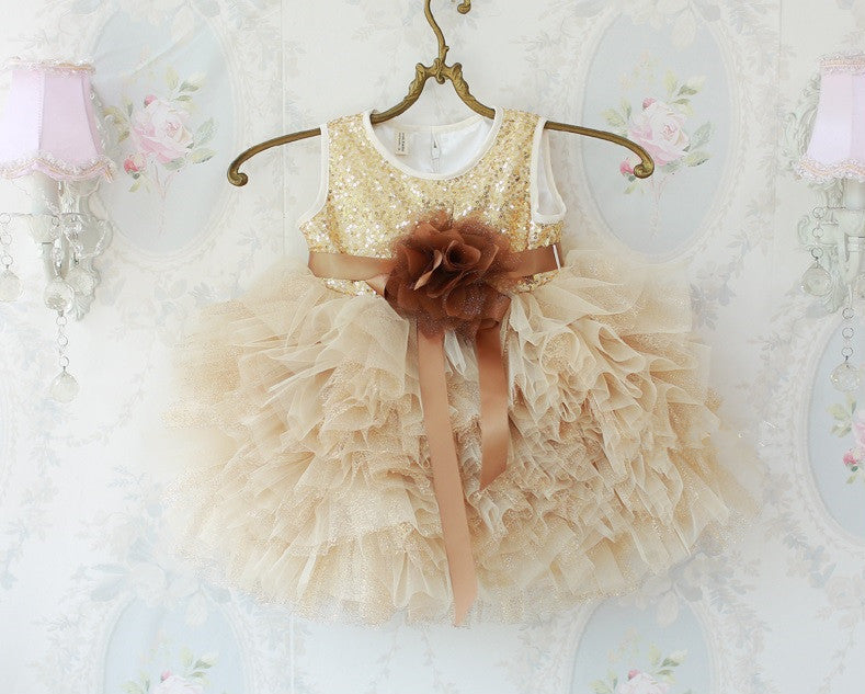 Bling Bling Flower Girl Dress Party Dress PD-DD003