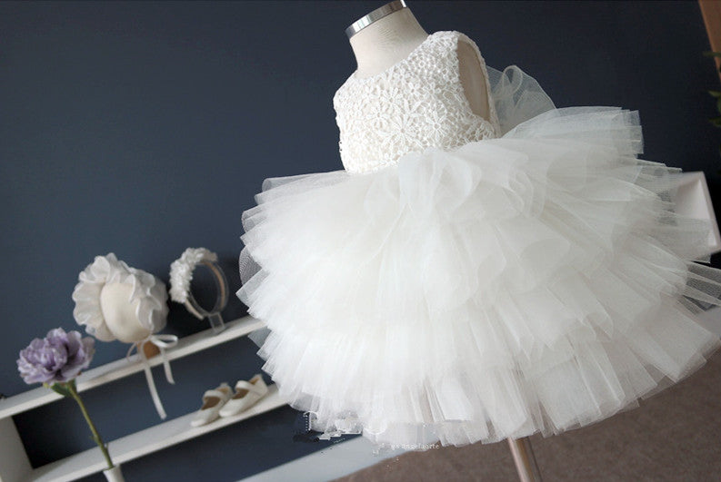 Fancy Ivory Flower Girl Tutu Dress Party Dress PD-AO002