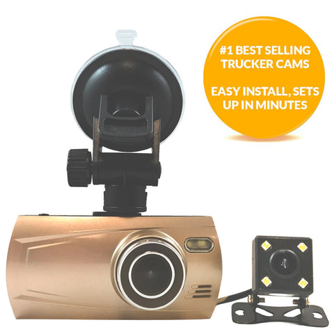 2 Camera 1080P Trucker Dash Cam - Record 2 Viewpoints at Once! Add GPS to Track Speed/Location!