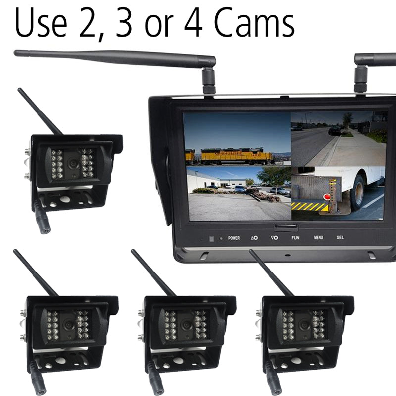 "Wireless 2-4 Camera DVR Cam System with Quad Screen 9"" LCD! Heavy Duty, Wireless!"