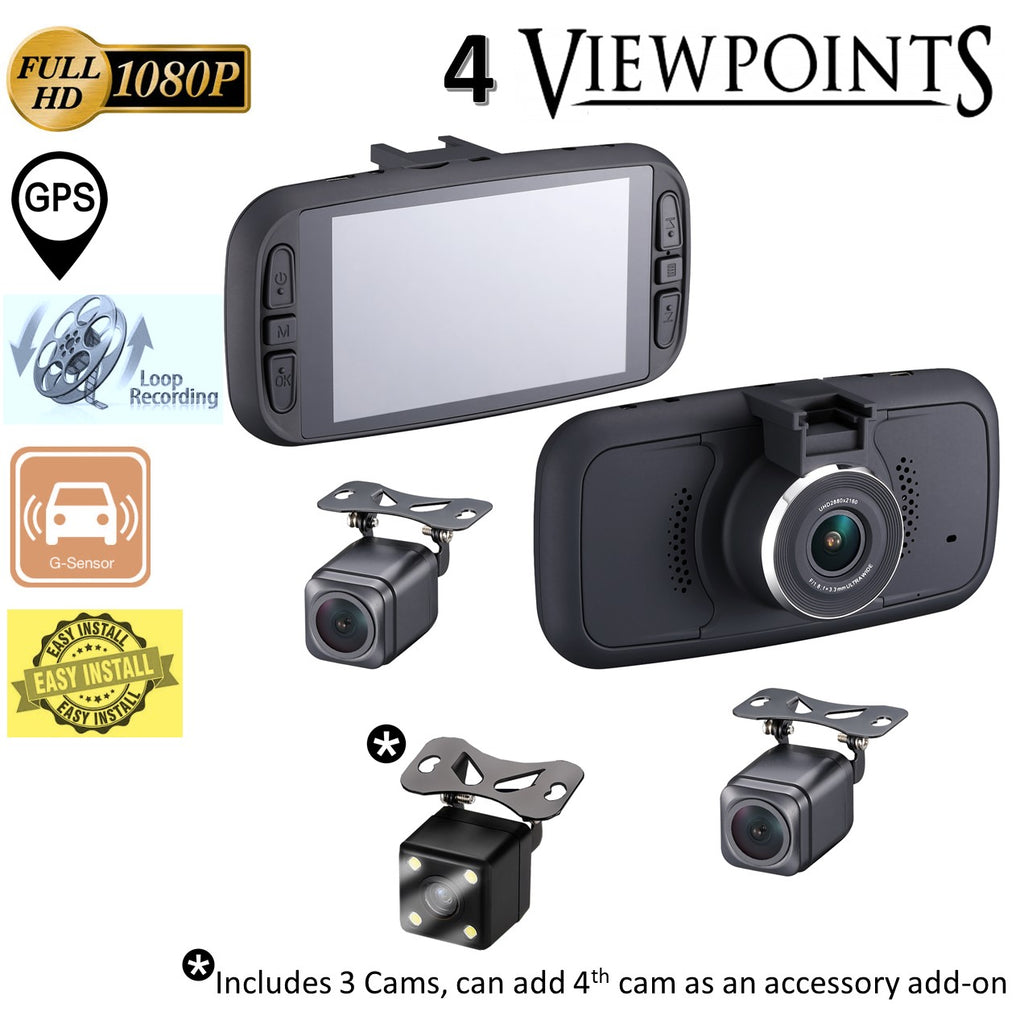EagleEye 4: 3 Cam 1080P GPS Dashcam System w/ Optional 4th Camera