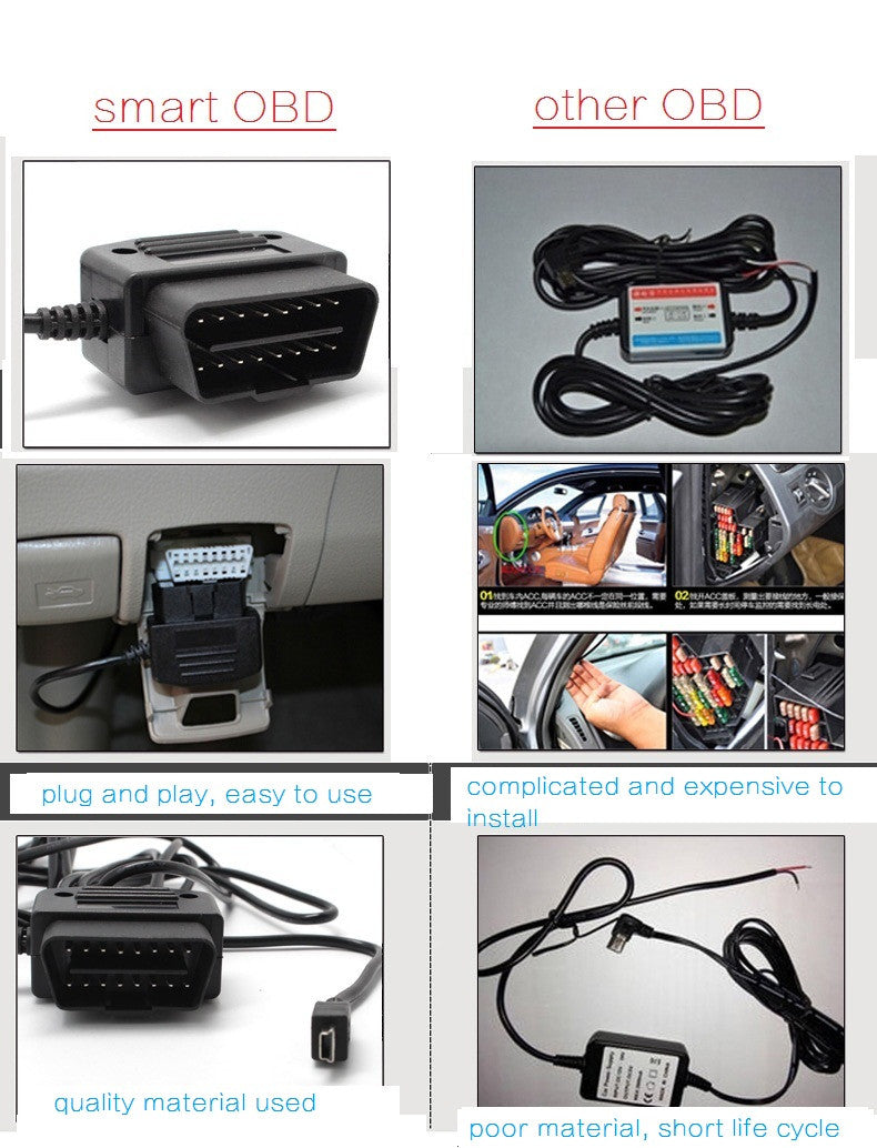 OBDII 12 Volt Power Cable for Dash Cams! Replaces Cig Lighter Charger! Installs in seconds!