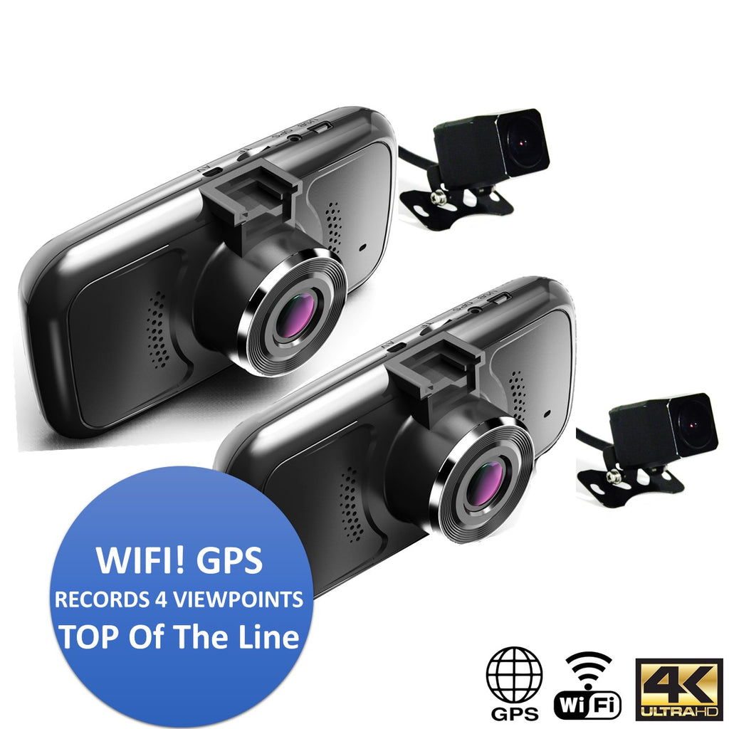 Pinnacle WiFi 4K GPS QUAD Dash Cam! Top of the Line 4 Cam with Night Vision!