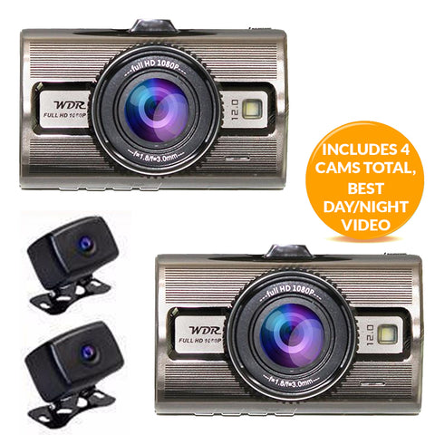 Dash Camera - Prime 4 - Includes 4 Cams (2 outdoor cam)! Best Day/Night Video! FREE Shipping!
