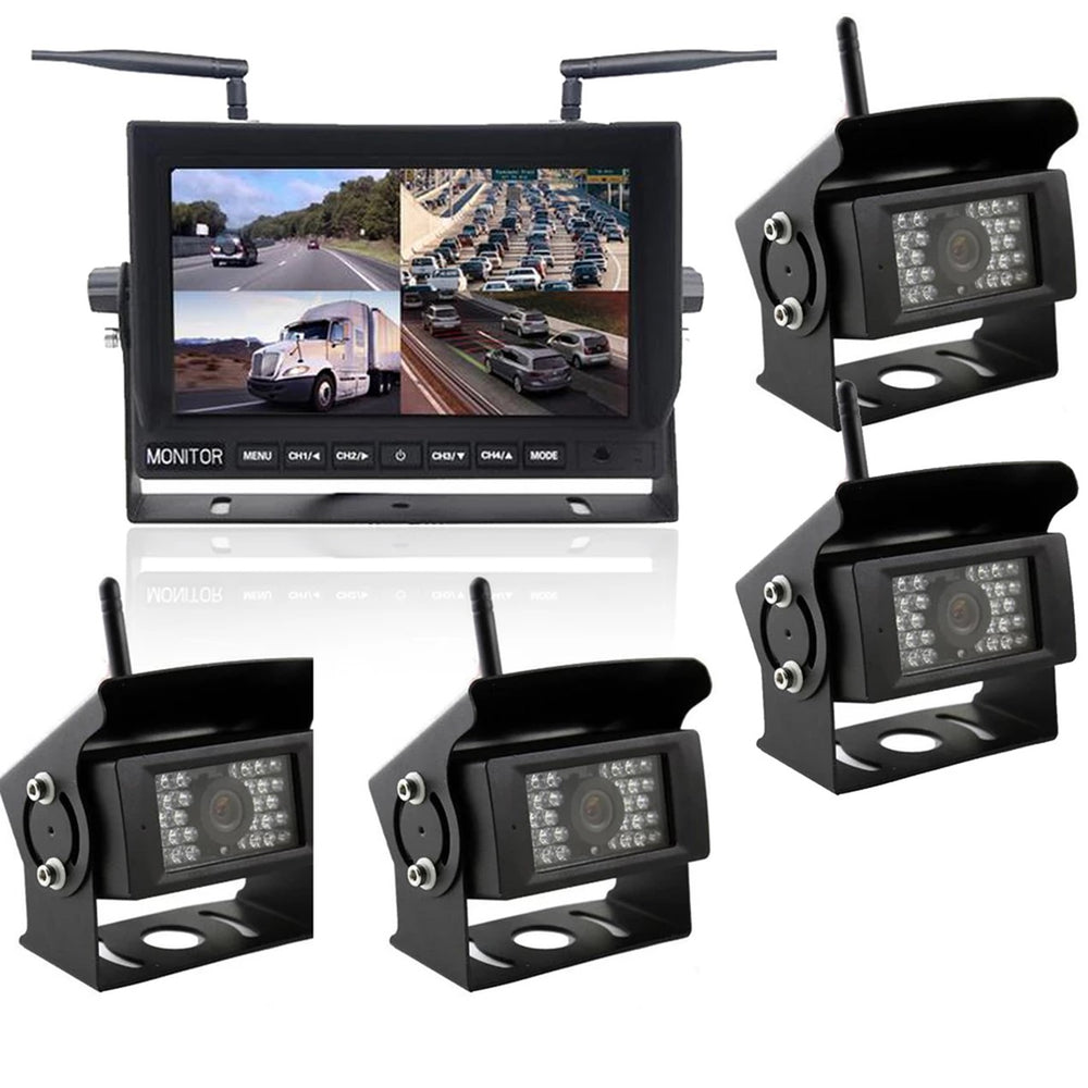 DISCONTINUED Wireless 4 Channel Dash Cam. 2-4 Cams, Heavy Duty, 150' Wireless Range