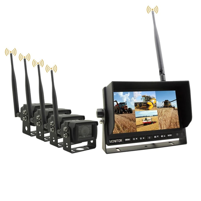 "Wireless Backup Camera System For Trucks - Heavy Duty With 2-4 Cameras & 7"" LCD"