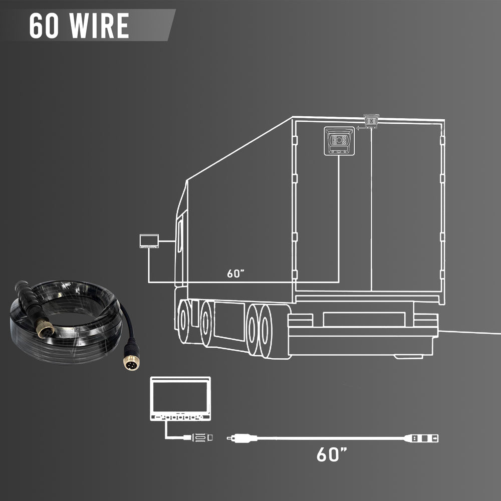 Wired Backup Camera for Trucks. Heavy Duty, 7