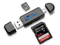 SD Card Reader for Phones/Tablet! Transfer Video to Phone/Tablet in Seconds - FalconEye Trucker Dash Cams  - 1