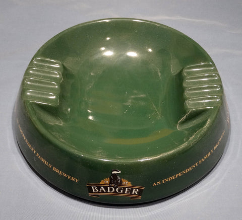 BAR ASHTRAY, GLAZED EARTHENWARE, BADGER BITTER BRITISH BEER