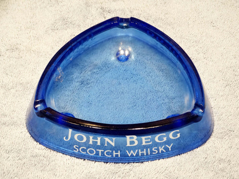 BLUE GLASS TABLE ASHTRAY – 'JOHN BEGG' SCOTCH WHISKY