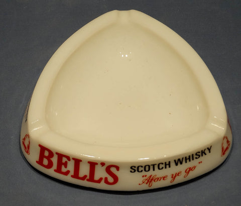 ARCOPAL (WHITE OPAQUE GLASS) ASHTRAY PROMOTING BELLS SCOTCH WHISKY