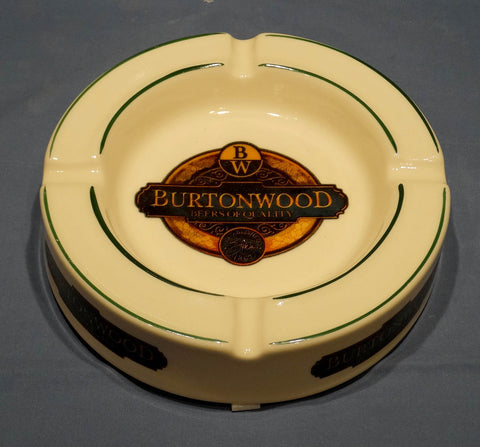 BAR ASHTRAY, GLAZED EARTHENWARE, BURTONWOOD BITTER BRITISH BEER