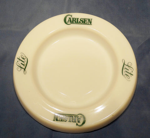 ARCOPAL (WHITE OPAQUE GLASS) ASHTRAY PROMOTING CARLSEN BEER