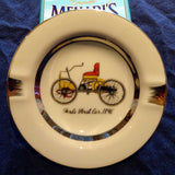 LIMOGES STYLE, GOLD TRIMMED PORCELAIN, 'FORD'S FIRST CAR' ASHTRAY