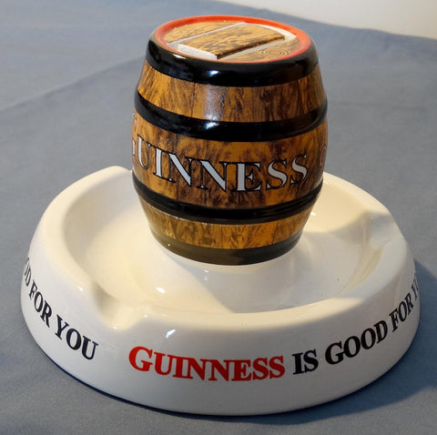 SOLD! ANTIQUE ASHTRAY AND MATCHBOX HOLDER GUINNESS SOLD!