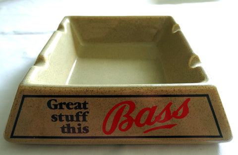 SOLD*SOLD*SOLD! HEAVY GLAZED EARTHENWARE BAR ASHTRAY 'BASS'  DRAUGHT BITTER
