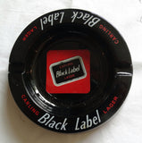 ROUND BLACK GLASS TABLE ASHTRAY 'CARLING BLACK LABEL'  LAGER BEER