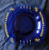 LARGE, HEAVY, BLUE GLASS BAR ASHTRAY 'MCEWAN'S' LAGER BEER