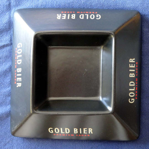 BLACK PORCELAIN BAR ASHTRAY 'GOLD BIER' LAGER BEER