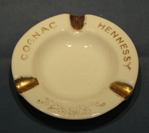 BEAUTIFUL LIMOGES PORCELAIN GOLD-TRIMMED ASHTRAY-HENNESSY COGNAC
