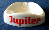 WHITE OPAQUE GLASS TABLE ASHTRAY PROMOTING 'JUPITER' FRENCH PILSENER BEER