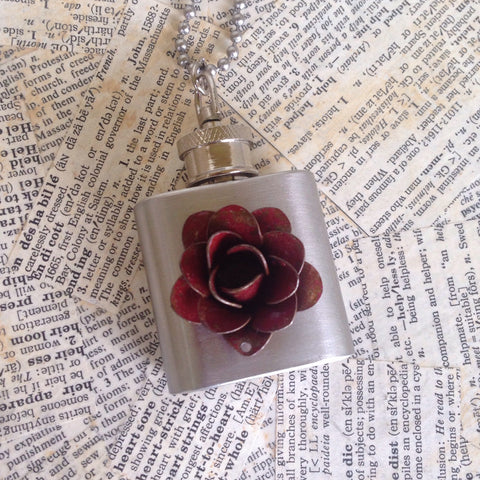 rose flask necklace