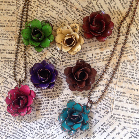 metal rose necklace
