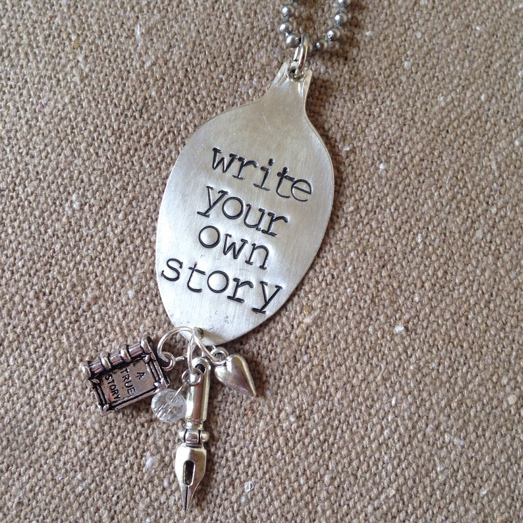 write your own story spoon necklace