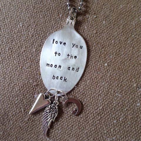love you to the moon and back spoon necklace
