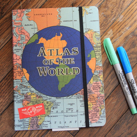 atlas of the world notebook