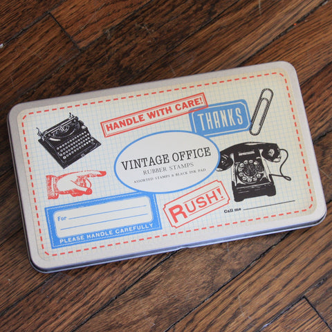 vintage office rubber stamp kit