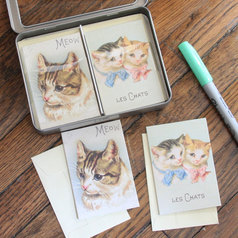 vintage cat petite notecard set
