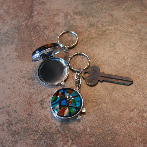 colored swirl mirror keychain