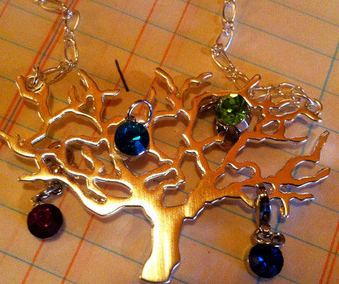 silver tree necklace with birthstones