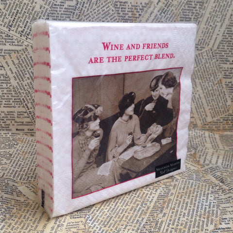 beverage napkins: wine and friends