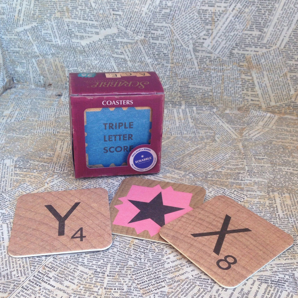 vintage bar scrabble coasters