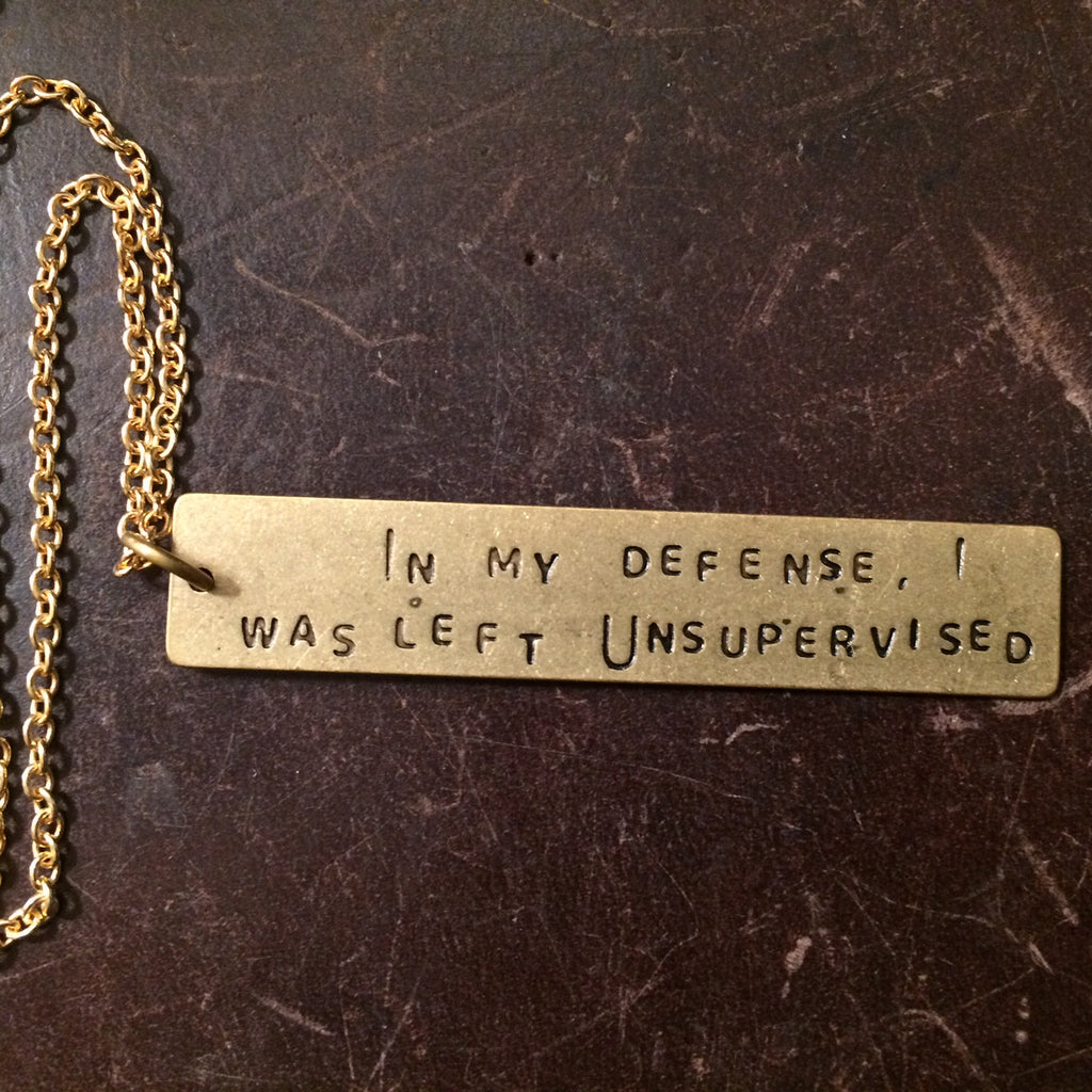 snarky stamped necklaces