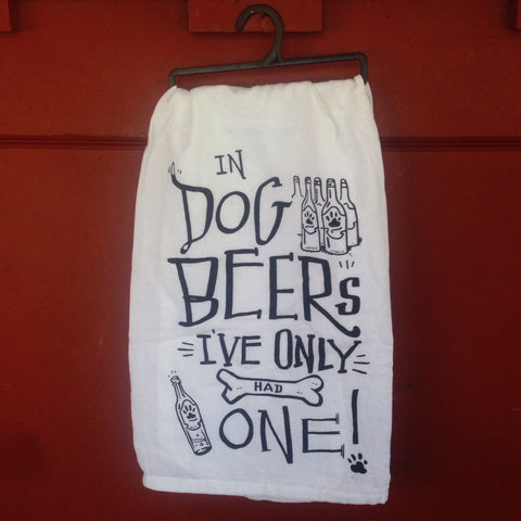 kitchen towel: in dog beers